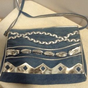 Warren Reed chambray with silver  crossbody bag